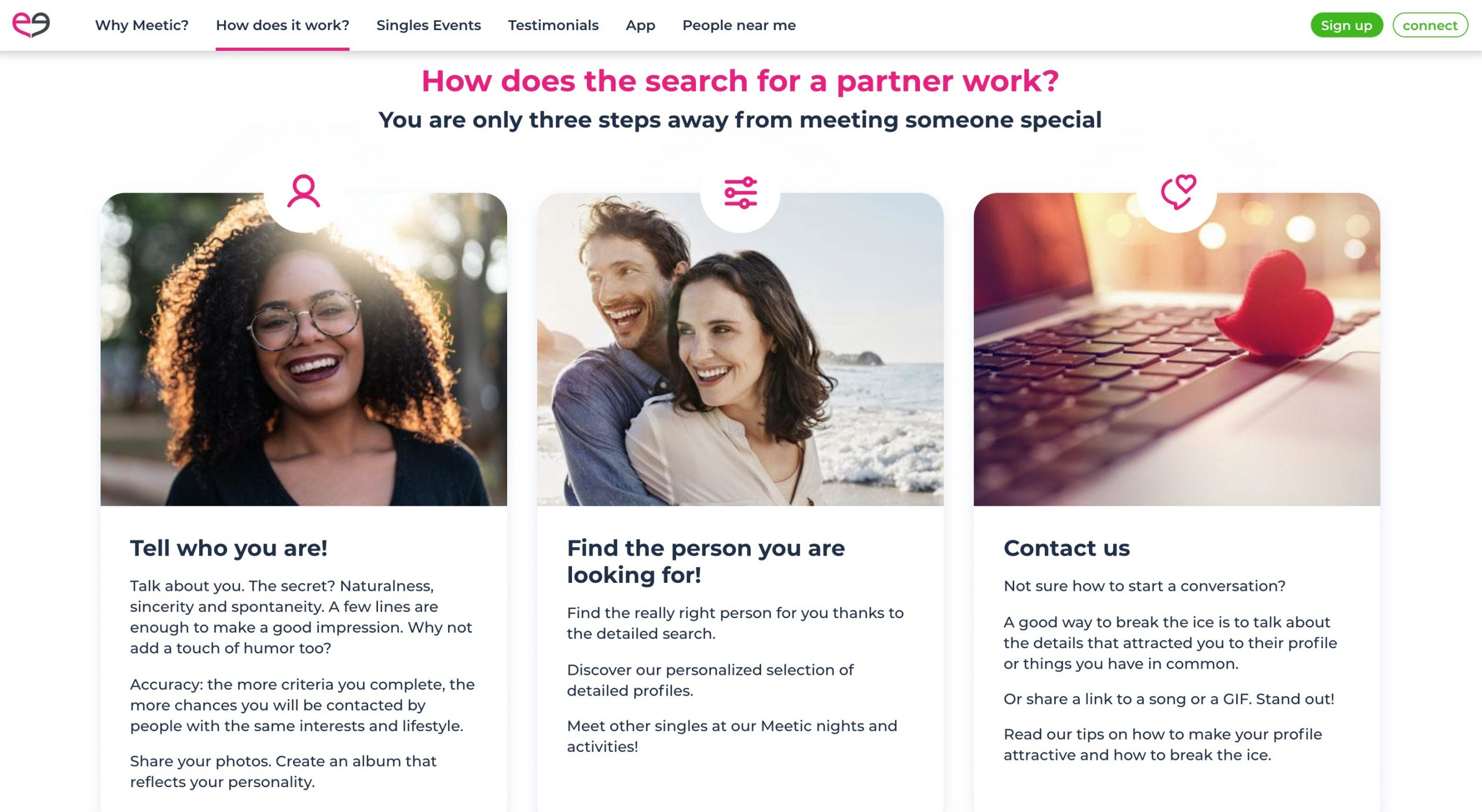 Meetic search your partner