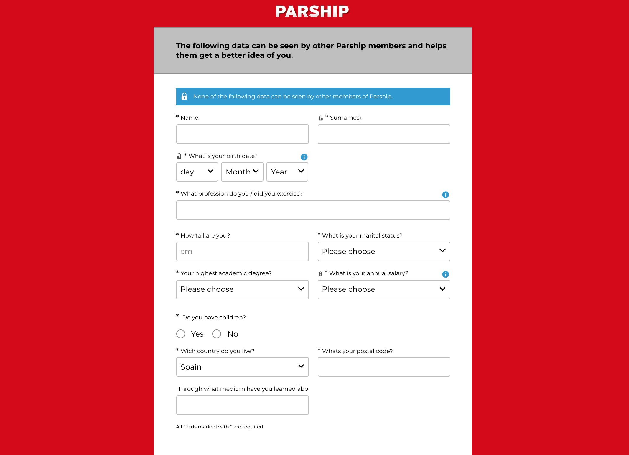 Parship create account